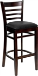 Ladder Back Walnut Wood Bar Stool