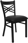 Cross Over Back Metal Chair with Padded Black Seat
