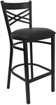 Cross Over Back Black Metal Bar Stool with Padded Black Seat