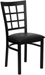 Window-Lattice Back Black Metal Restaurant Chair