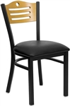 Wood Slat Padded Seat Metal Dining Chair