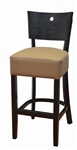 "Black Wood 2 "" Padded Seat Restaurant   Bar Stool"