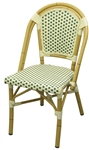 Rattan Aluminum Bistro Chair Ivory/Green