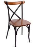 Industrial Cross Back Bistro Chair with Wood Seat