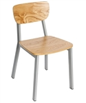 Natural Wood Chair Platinum Metal Frame