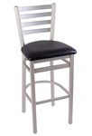 Silver Metallic Ladder Back Bar Stool
