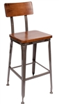 Industrial Metal Bar Stool with Wood Seat