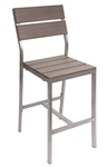 Teak Restaurant Bar Stools with WIDE Soft Grey Slats