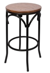 Industrial Black Distressed Metal Bar Stool Wood Seat