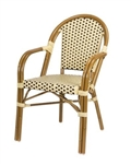 Cafe Seating; French Bistro All Weather Arm Chair; Ivory/Brown weave