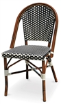 "Rattan Bistro Aluminum Chairs; Black & White  Dark Bamboo with Black/White ""High Density"" weave"