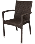 Outdoor Espresso Weave Dining Arm Chair