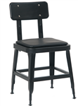 Industrial Black Metal Chair Padded Seat