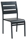 Black Metal Teak Faux Bistro Dining Chair