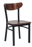 Black Metal Bistro Chair with Wood Veneer Seat and Back