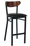 Black Metal Bar Stool with Padded Seat