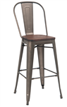 Industrial Bar Stool, Gun Metal Finish,beautiful Elm Wood Grain Seat