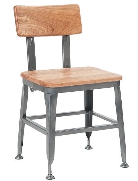 Industrial Metal Chair Wood Seat