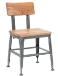 Industrial Metal Restaurant Chair with Wood Seat