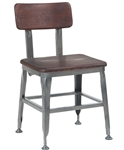 Industrial Wood Back Gun Metal Restaurant Chair