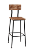 Black Metal Distressed Pine Wood Bar Stool