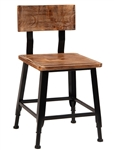 Industrial Pine Wood Chair w/ Black Metal Frame