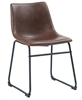 Black Metal Dining Industrial Chair Brown Cushion