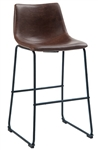 Industrial Bar Stool Brown Padded Seat Black Metal