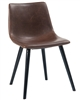 Industrial chair, distressed brown vinyl, seat detail stitch work, and black metal tubular legs