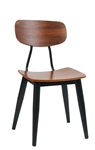 Industrial Black Metal Chair Wood Seat