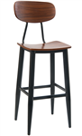 Industrial Black Metal Bar Stool Wood Seat