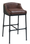 Industrial Bar Stool with Black Metal Upholstered Seat