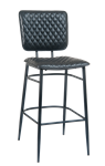 Black Metal Diamond Tuft Bar Stool