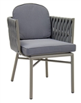 Outdoor Rope Grey Cushioned Arm Chair