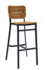 Teak Bar Stool with Plank Faux Wood Seat & Back