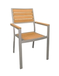 Synthetic Teak Slat Wood Arm Chair with Grey Finish @ affordable price