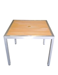 Teak Inlay Slat Faux Patio Restaurant Table;Grey Finish @ affordable price
