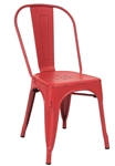 Distressed Antique Red Industrial Steel Chair