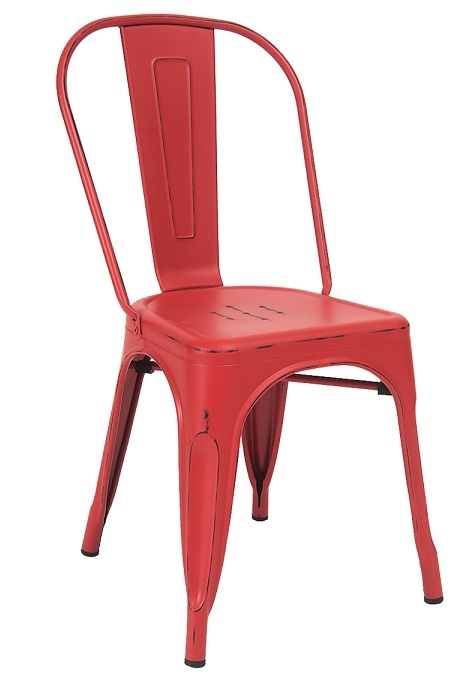 Distressed Antique Red Industrial Steel Chair in Clear Finish for Indoor  Seating - Distressed Antique Red Industrial Steel Chair In Clear Finish For