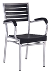 Black Teak Slat Aluminum Arm Chair