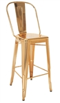 Industrial Gold Metal Bar Stool