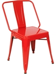 Industrial Steel Dining Chair in Red Clear or Black Finish Coating