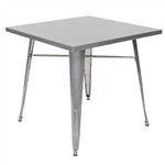 Industrial Restaurant Dining Tables in Clear Coat Silver or Black