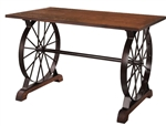 Industrial Wagon Wheel Restaurant Wood Table Top