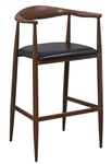Modern Wood Grain Metal Bar Stool with Floating Back Design and Arms