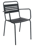 Bistro Black Metal Slat Back Outdoor Arm Chair Seating