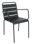 Black Metal Slat Back Arm Chair