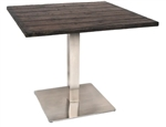 Rustic Tabletop with Stainless Steel SQ. Base