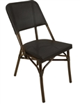 Rattan Black Mesh Weave Bistro Dining Chair with Walnut Frame