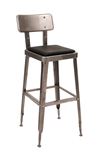 Industrial Metal Clear Finish Bar Stool with Black Cushion